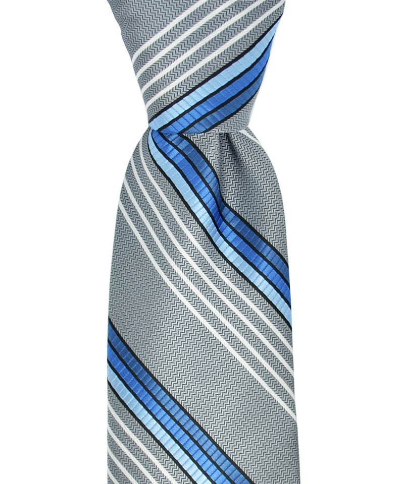 Silver and Blue Striped Necktie and Pocket Square
