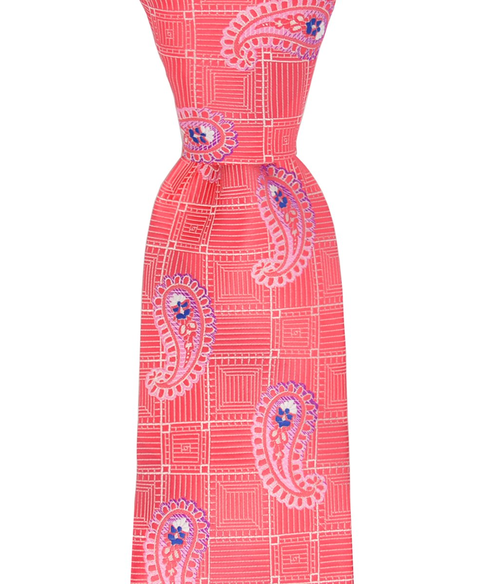 Sugar Coral Paisley Patterned Necktie and Pocket Square