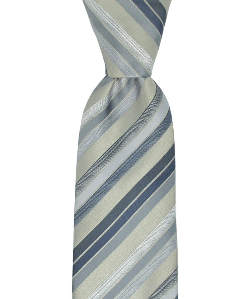 Silver and Charcoal Grey Striped Necktie and Pocket Square - tiepassion