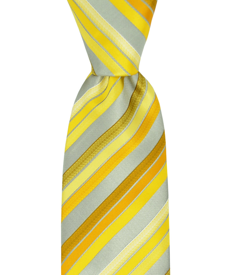 Yellow Striped Necktie and Pocket Square - tiepassion