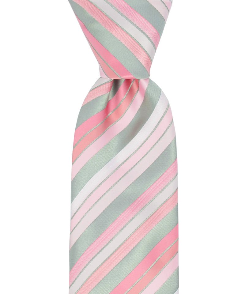 Pink Striped Necktie and Pocket Square - tiepassion