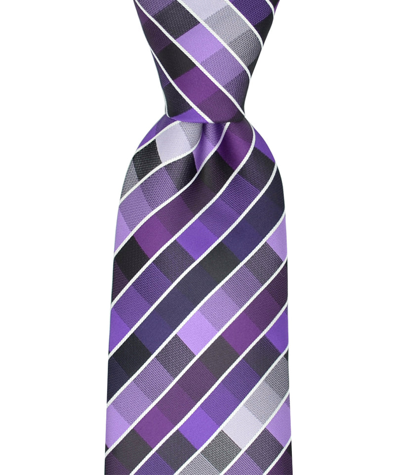 Purple Checkered Necktie and Pocket Square - tiepassion
