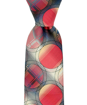 Red and Yellow Circle Patterned Necktie and Pocket Square - tiepassion