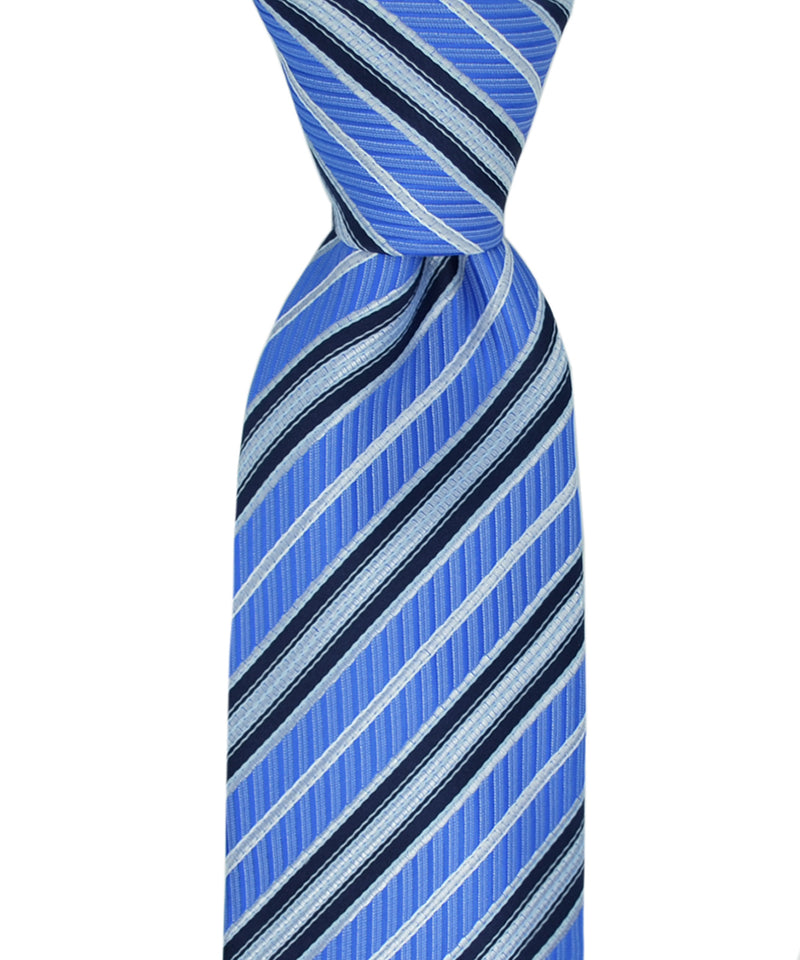 Regatta and Navy Blue Striped Necktie and Pocket Square - tiepassion