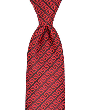 Red and Burgundy Meander Patterned Necktie and Pocket Square - tiepassion