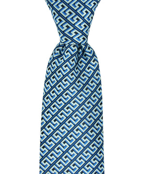 Turquoise and Blue Meander Patterned Necktie and Pocket Square - tiepassion