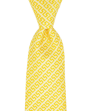 Yellow Meander Patterned Necktie and Pocket Square - tiepassion