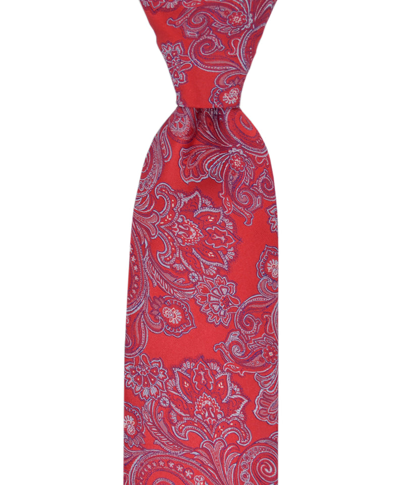 Red and Light Blue Paisley Necktie and Pocket Square - tiepassion