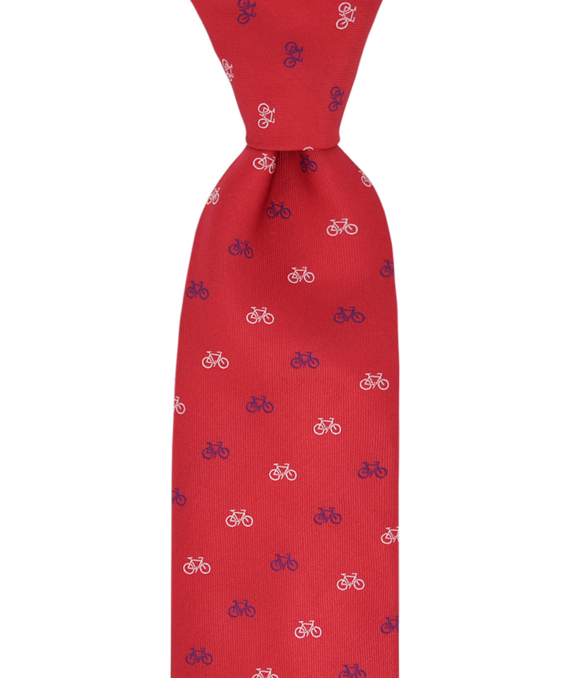 Red, Blue and White Bicycle Pattern Necktie and Pocket Square - tiepassion