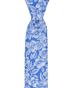 Slim Blue and White Floral Pattern Necktie - tiepassion