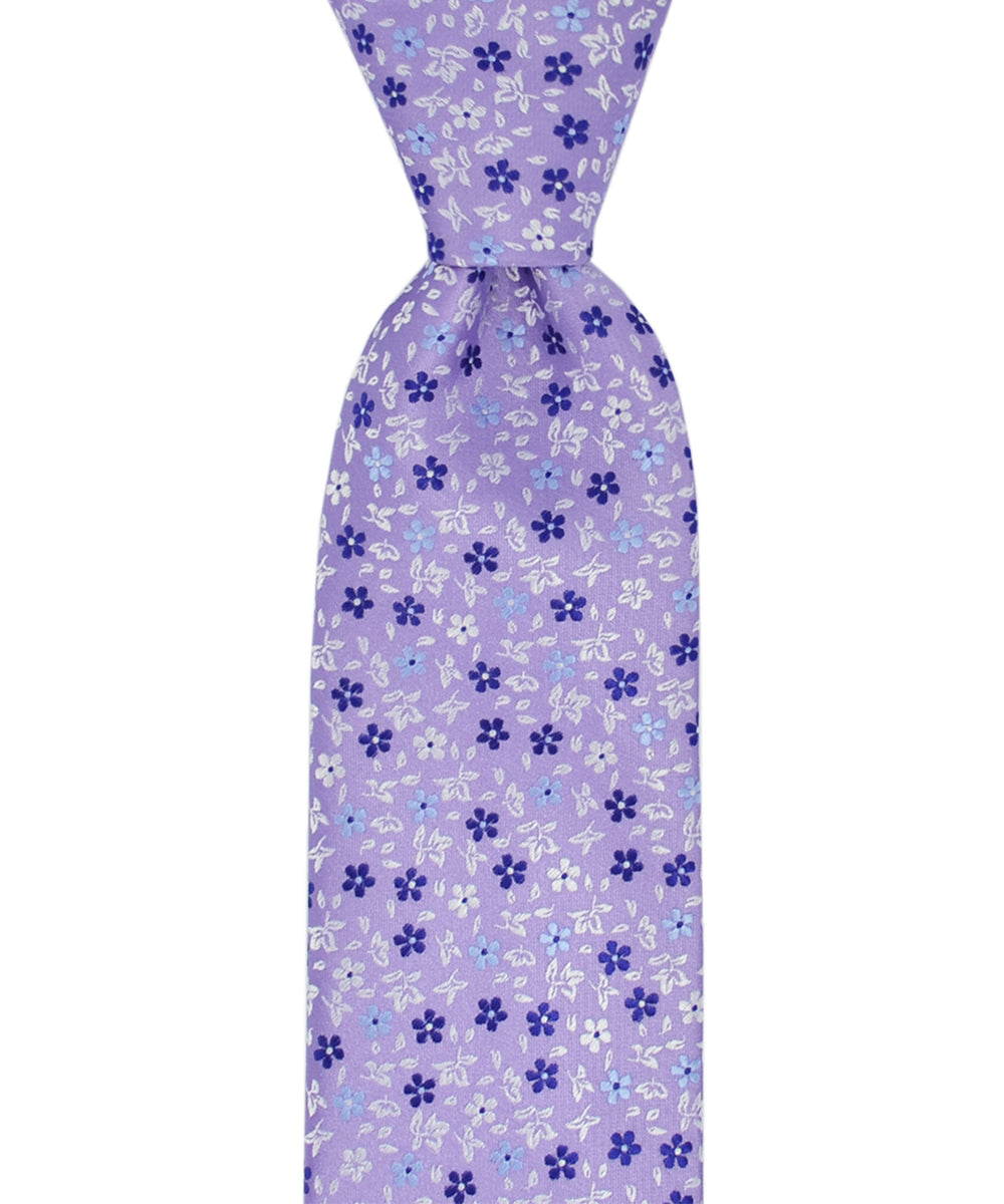 Purple, Blue and Lavender Floral Pattern Necktie - tiepassion
