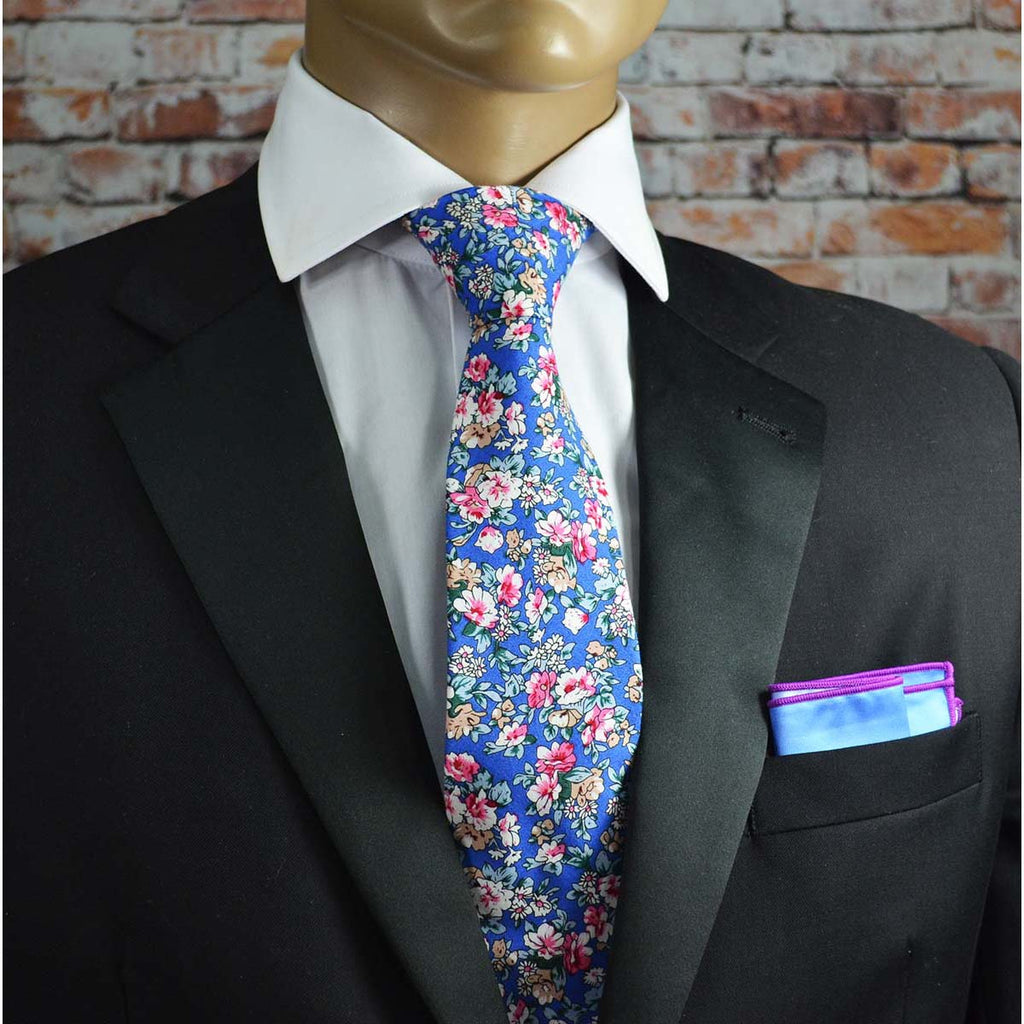 Palace Blue and Red Floral Cotton Men's Tie by TiePassion
