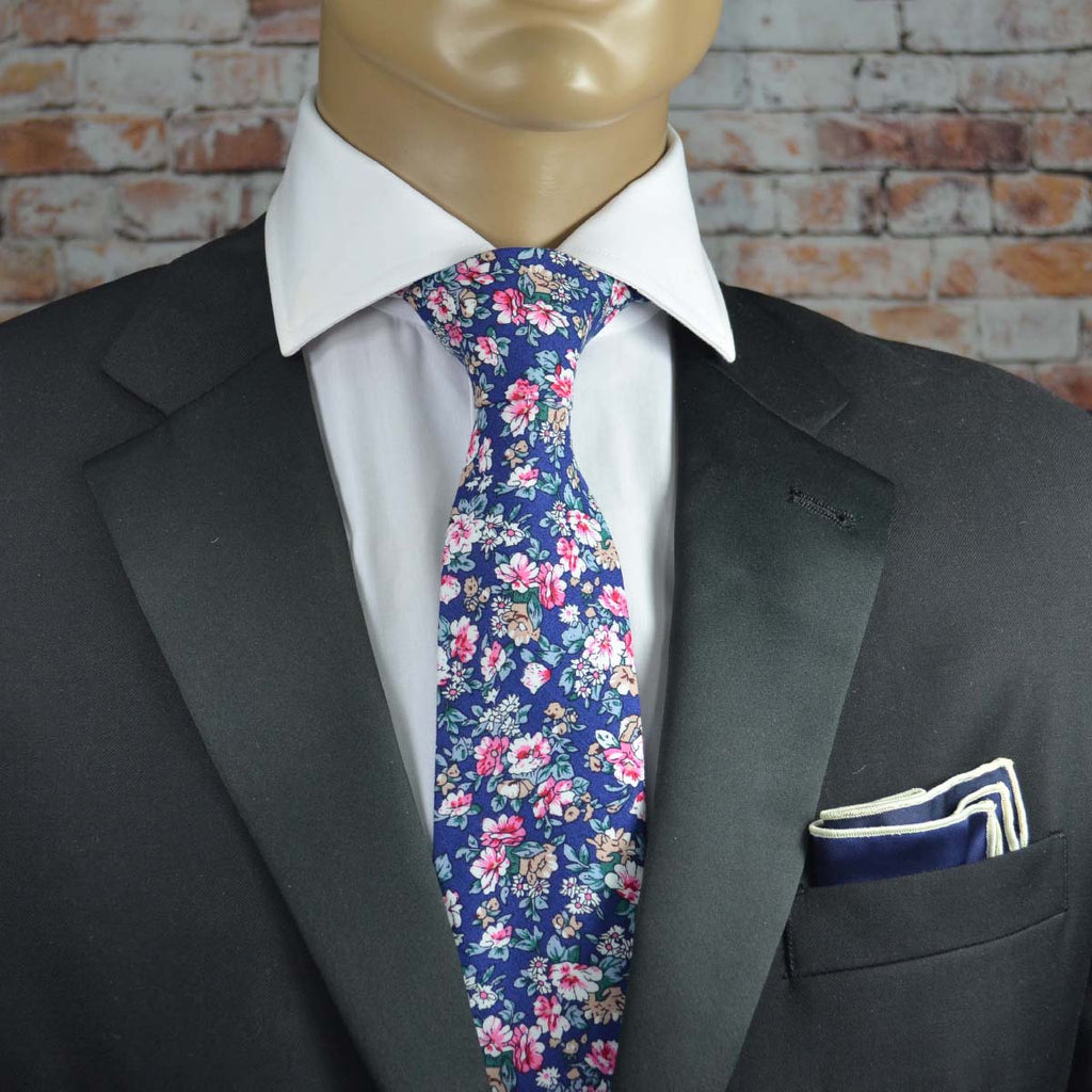 Midnight Blue Floral Cotton Men's Tie by TiePassion