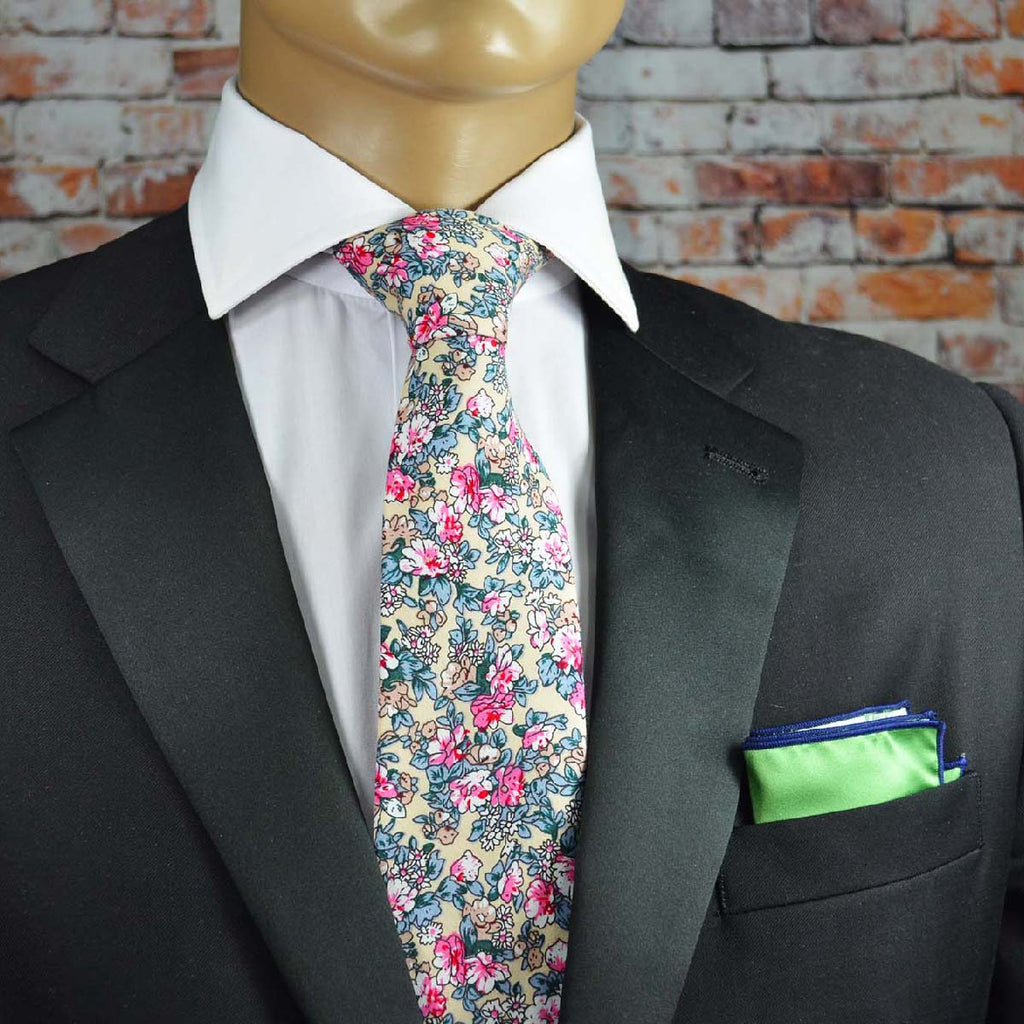 Ivory and Pink Floral Cotton Men's Tie by TiePassion