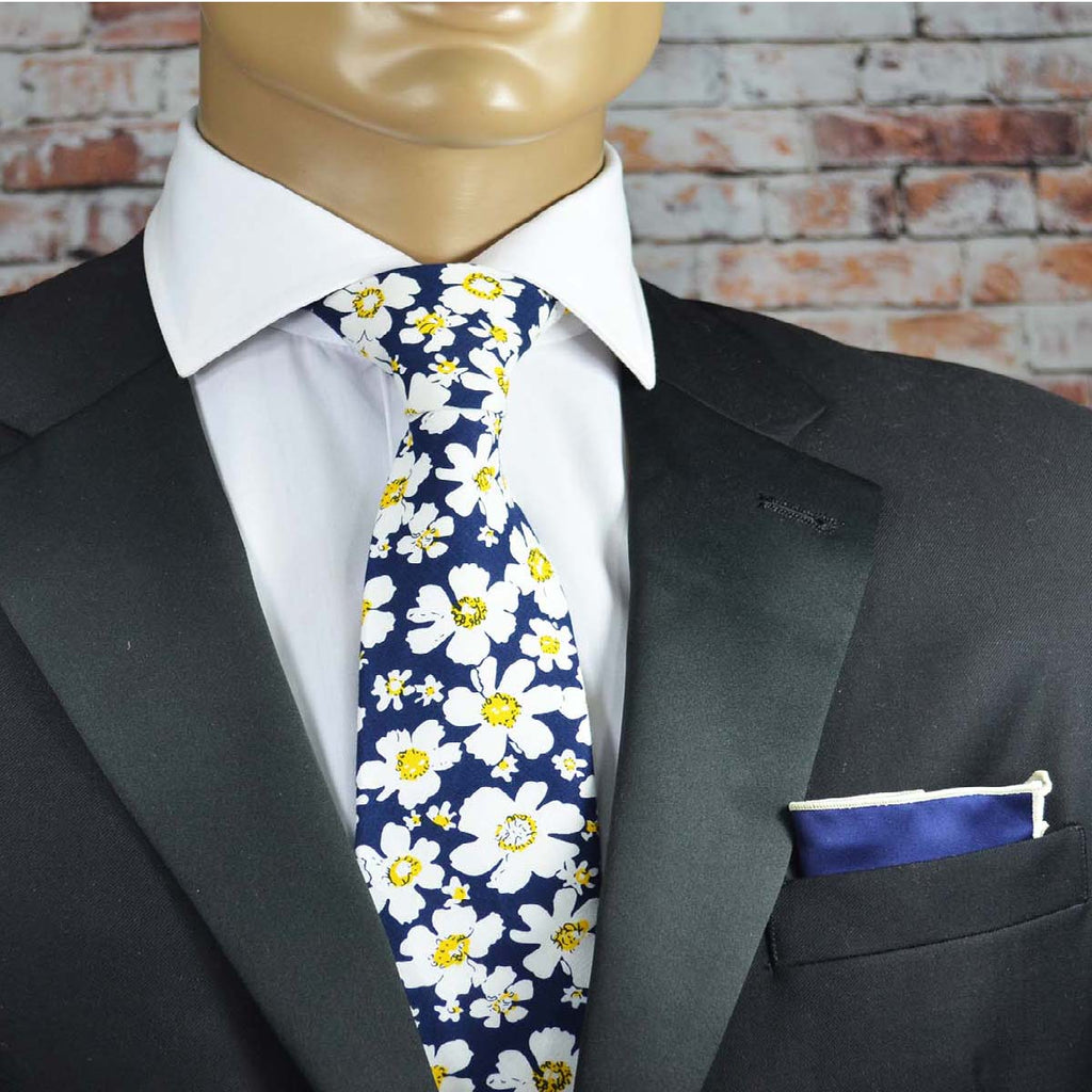 Blue Daisy Floral Cotton Men's Tie by TiePassion