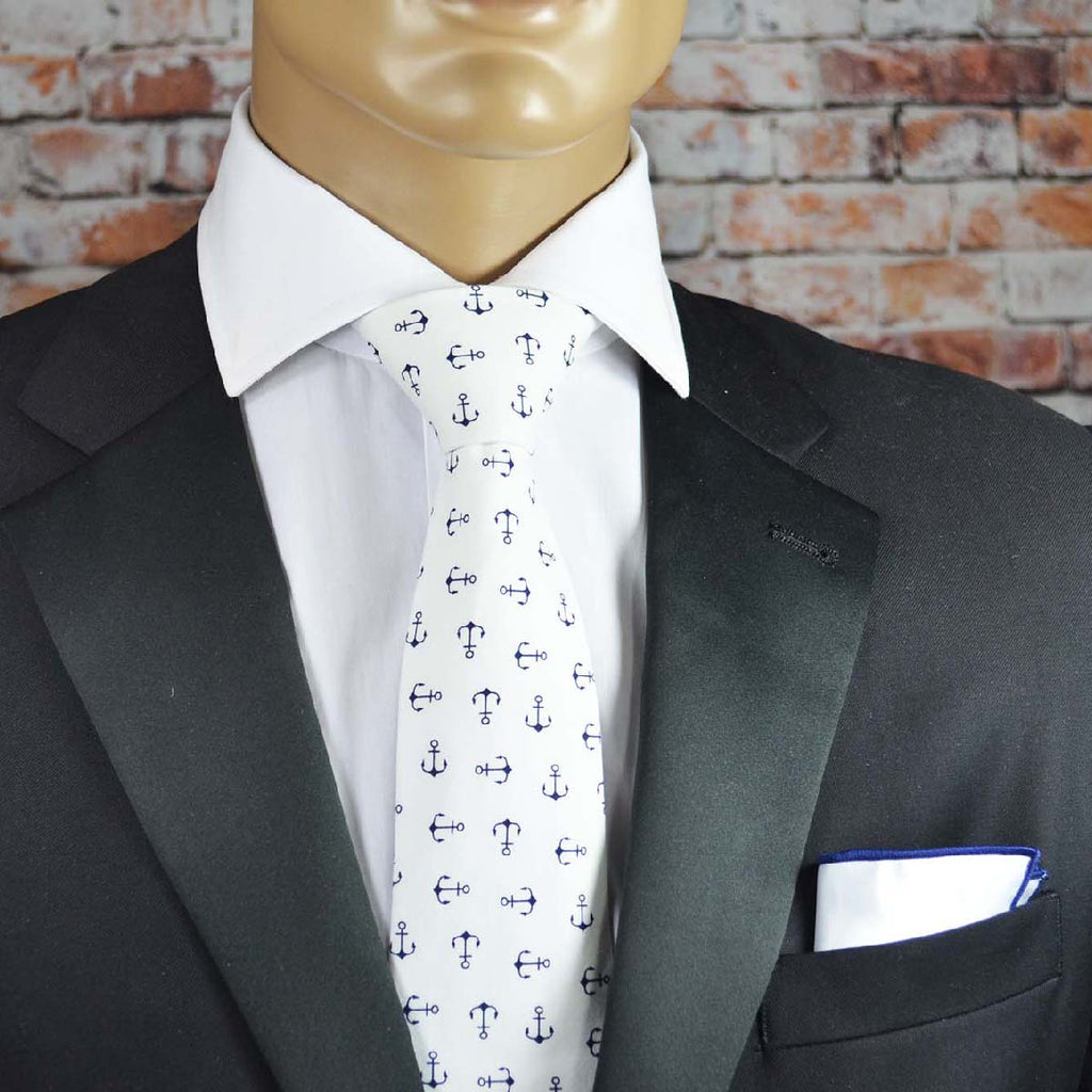 White Anchor Cotton Men's Tie by TiePassion