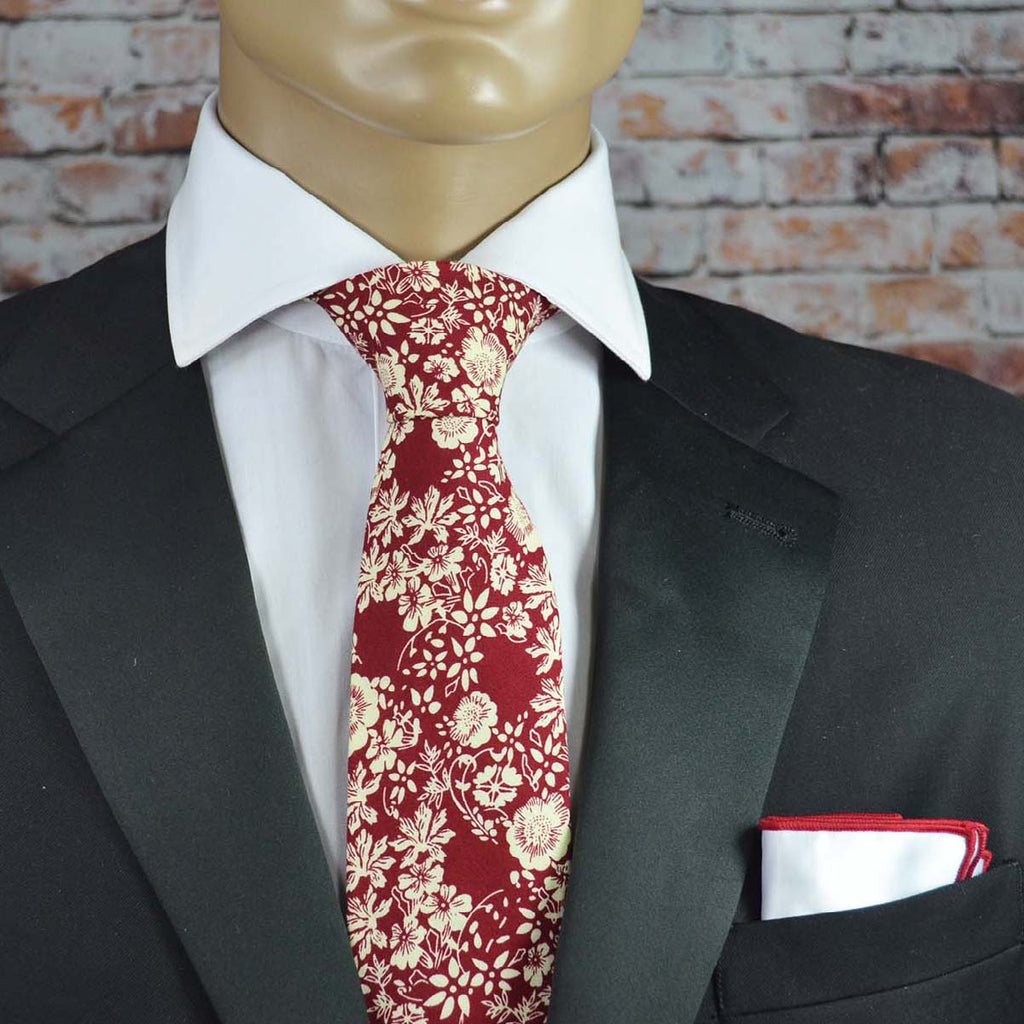 Burgundy Floral Cotton Men's Tie by TiePassion