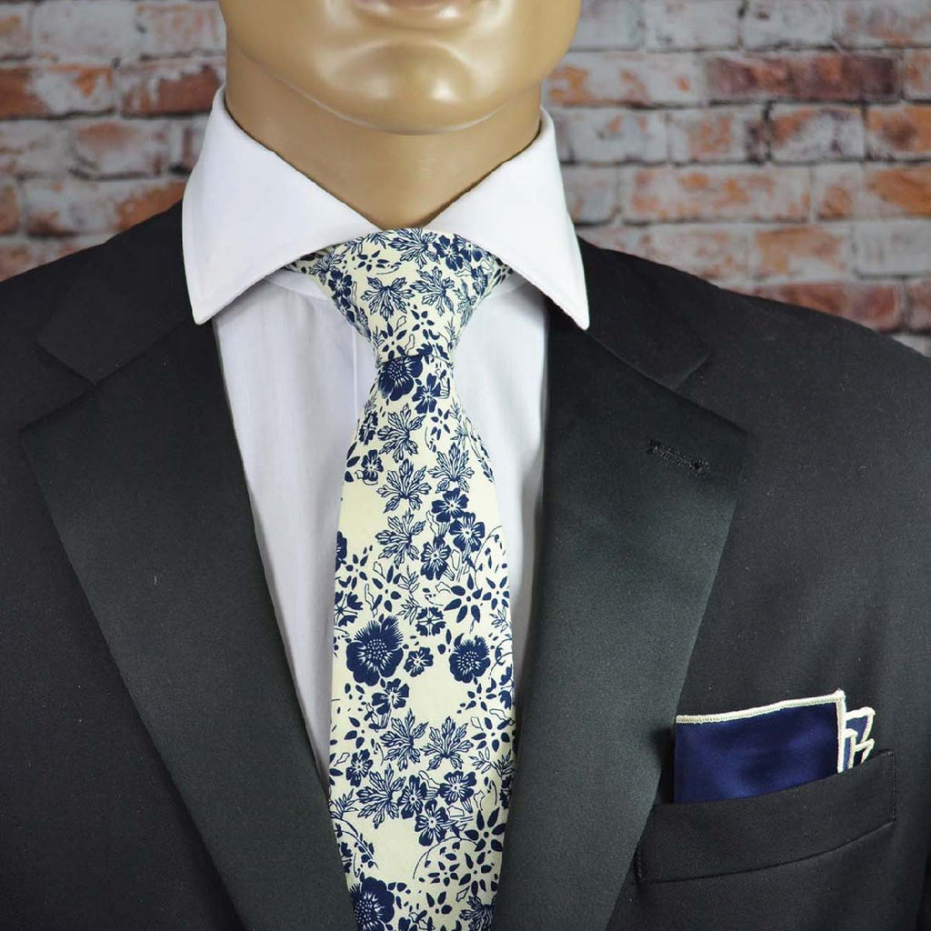 Cream and Navy Floral Cotton Men's Tie by TiePassion
