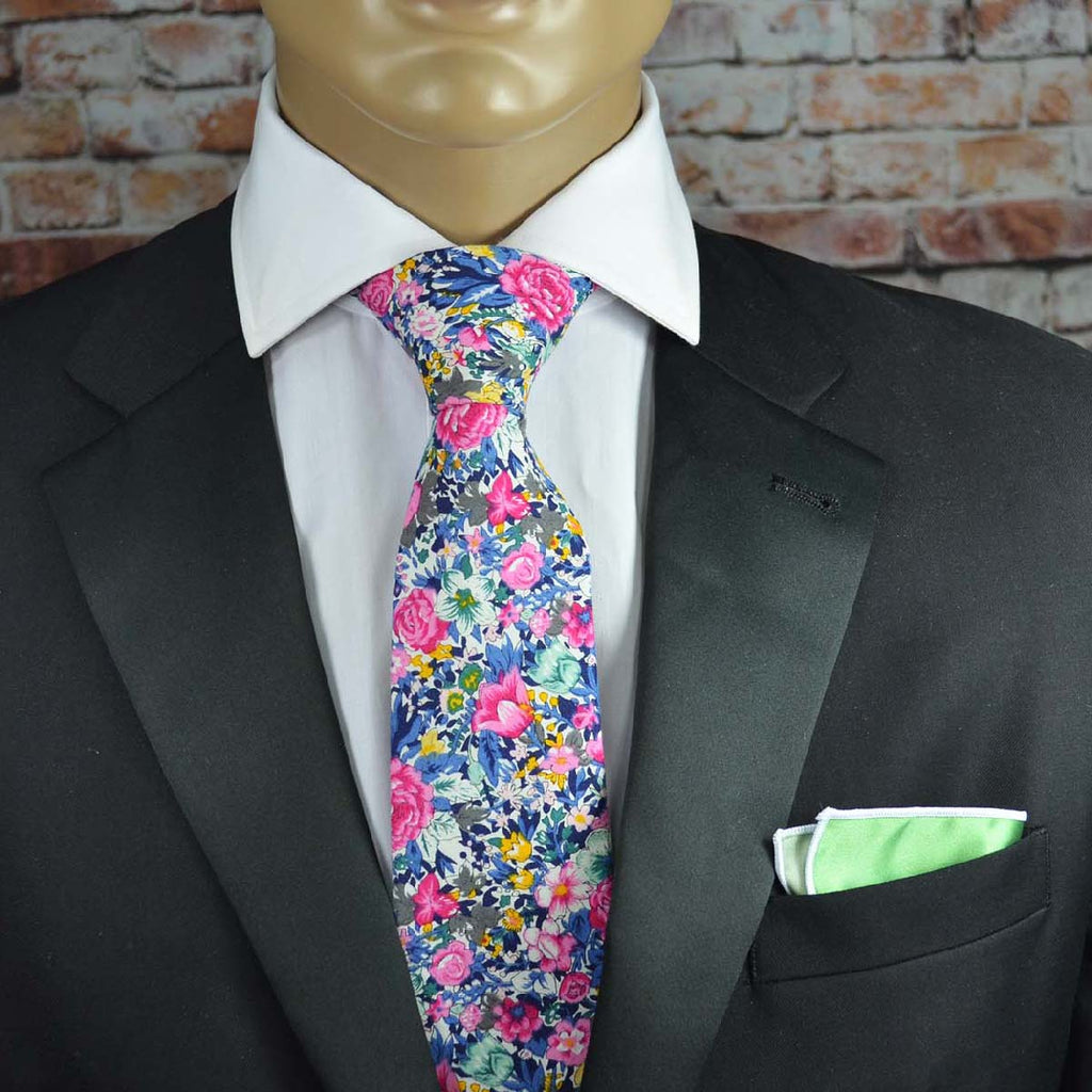 Summer Pink Floral Cotton Men's Tie by TiePassion