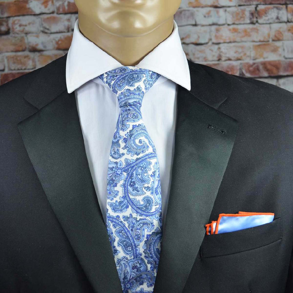 Blue and White Paisley Cotton Men's Tie by TiePassion