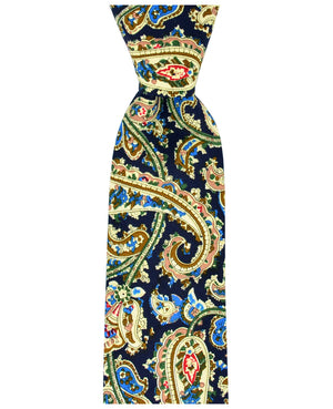 Navy Blue, Beige and Green Paisley Necktie - tiepassion