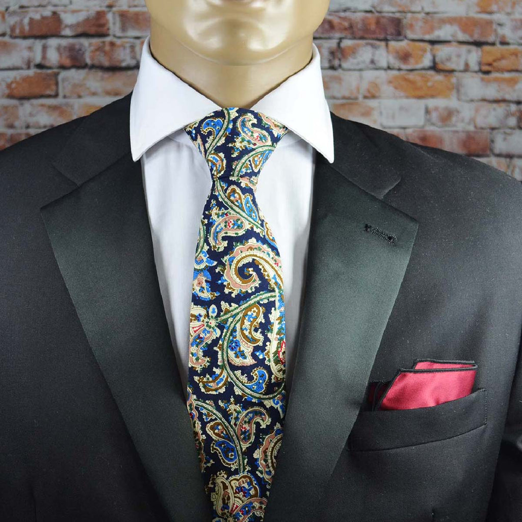 Cream and Blue Paisley Cotton Men's Tie by TiePassion