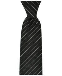 Classic Black and White Striped Cotton Men's Tie by TiePassion