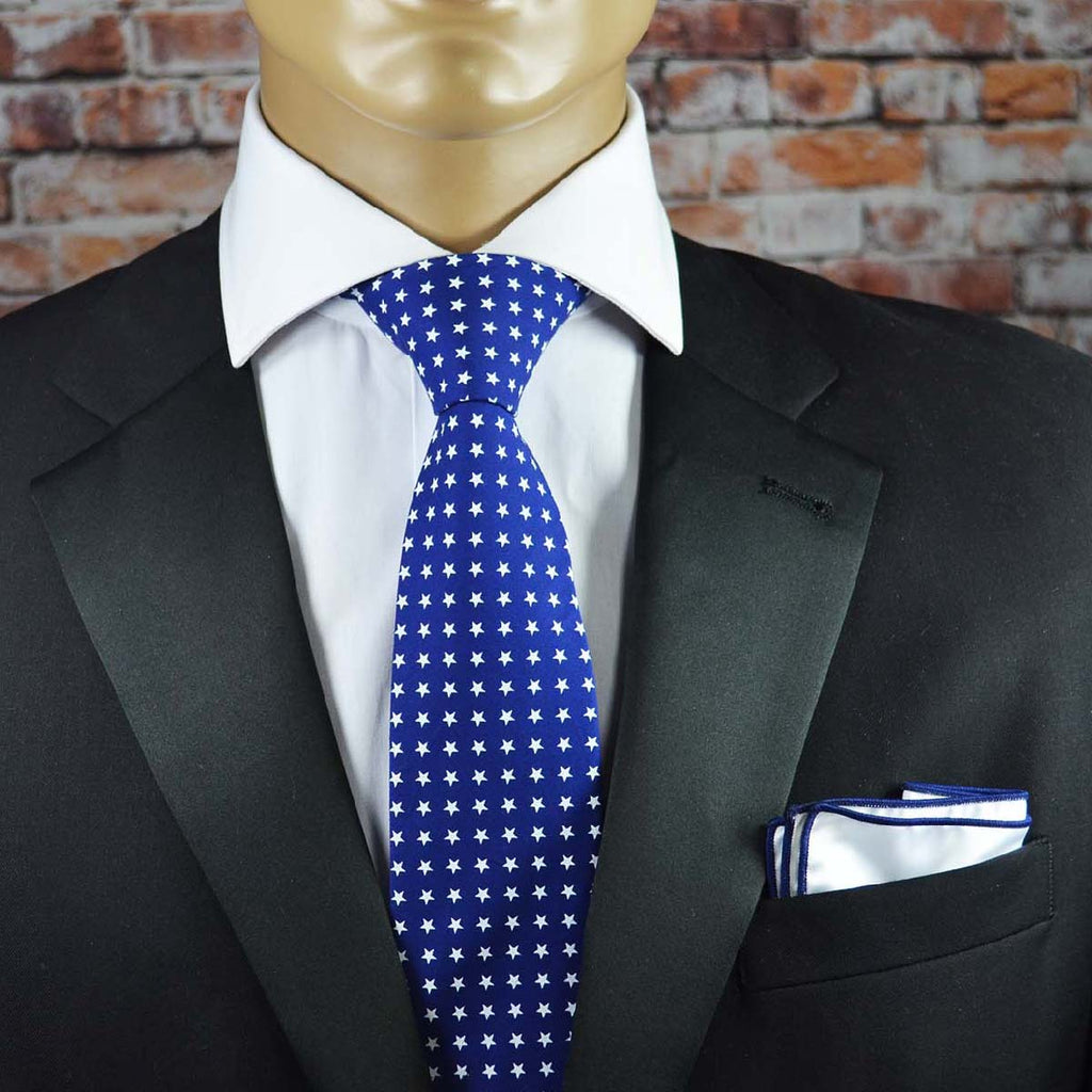 Navy and White Star Spangled Cotton Men's Tie by TiePassion
