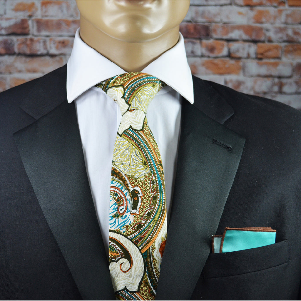 Brown and Teal Paisley Cotton Men's Tie by TiePassion
