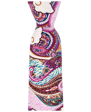 Pink Lavender and Teal Paisley Necktie - tiepassion
