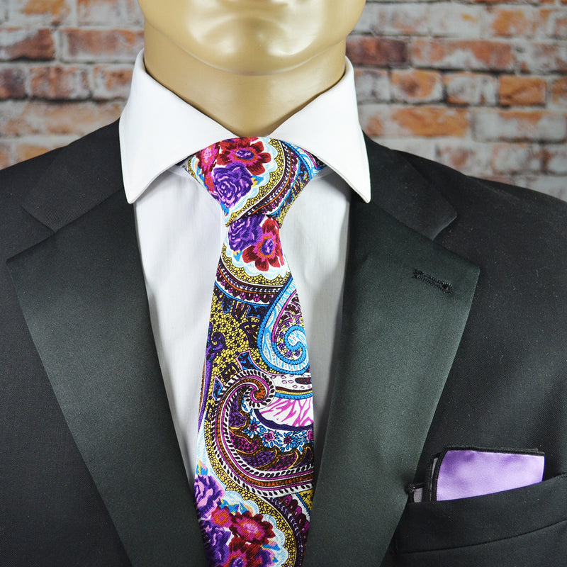 Lavender Floral and Paisley Cotton Men's Tie by TiePassion