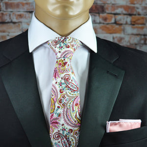 Pink and White Paisley Cotton Men's Tie by TiePassion