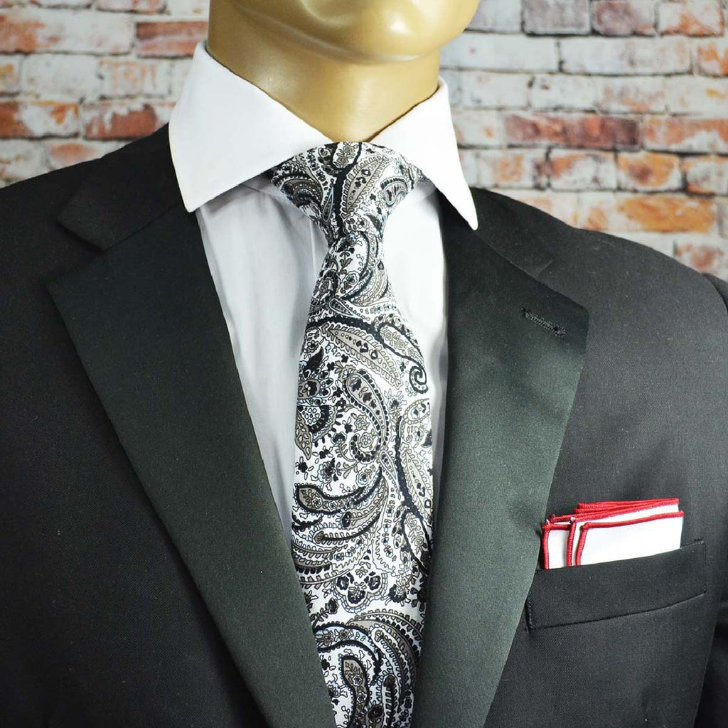 Black and White Paisley Cotton Men's Tie by TiePassion