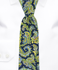 Navy, Green and Yellow Paisley Necktie