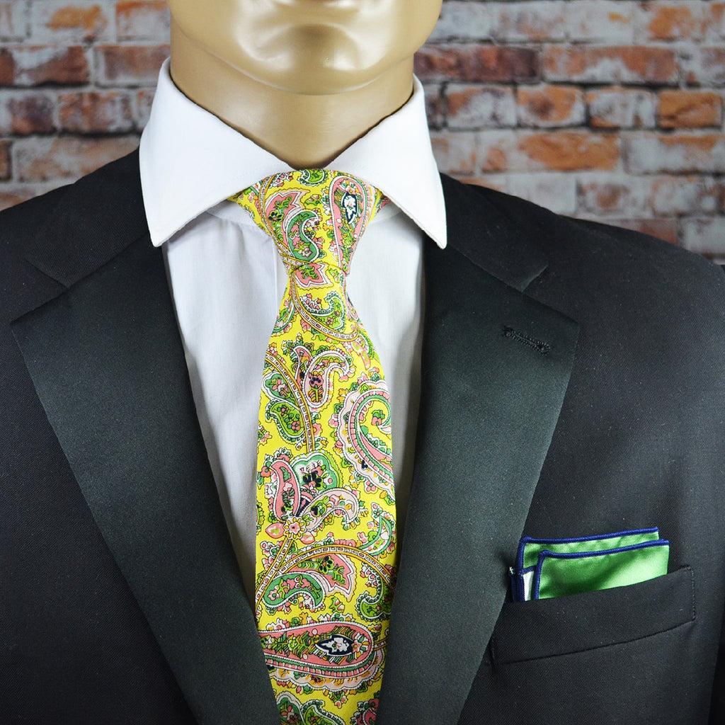 Mimosa Yellow Paisley Cotton Men's Tie by TiePassion