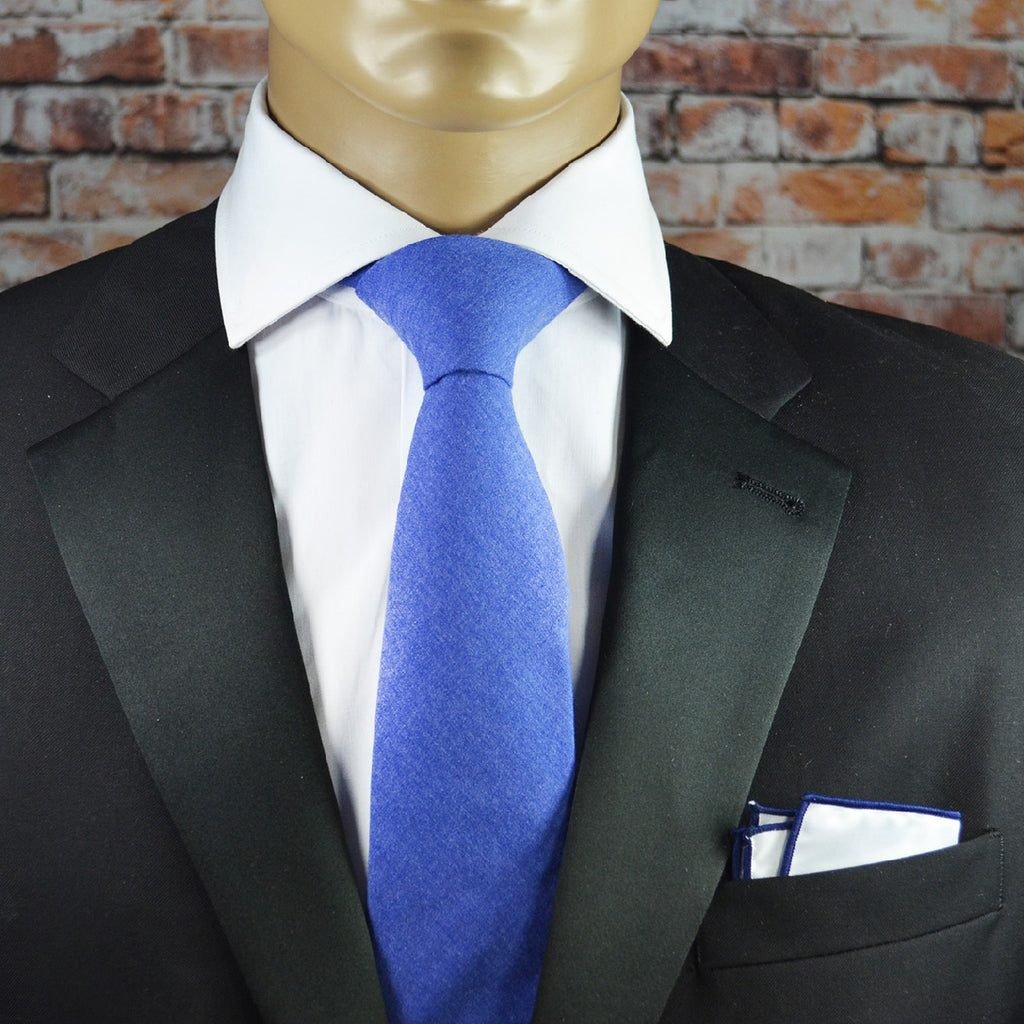 Olympian Blue Solid Cotton Men's Tie by TiePassion