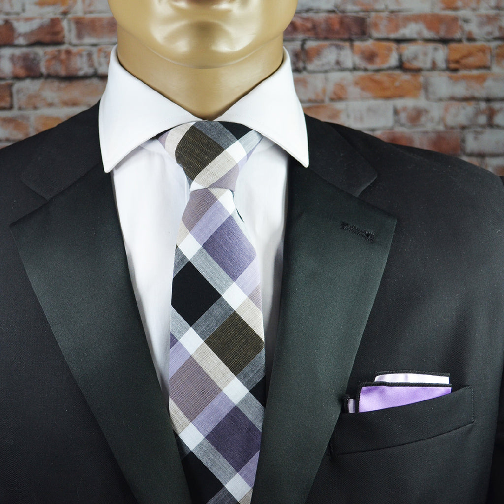 Imperial Palace Purple Plaid Cotton Men's Tie by TiePassion