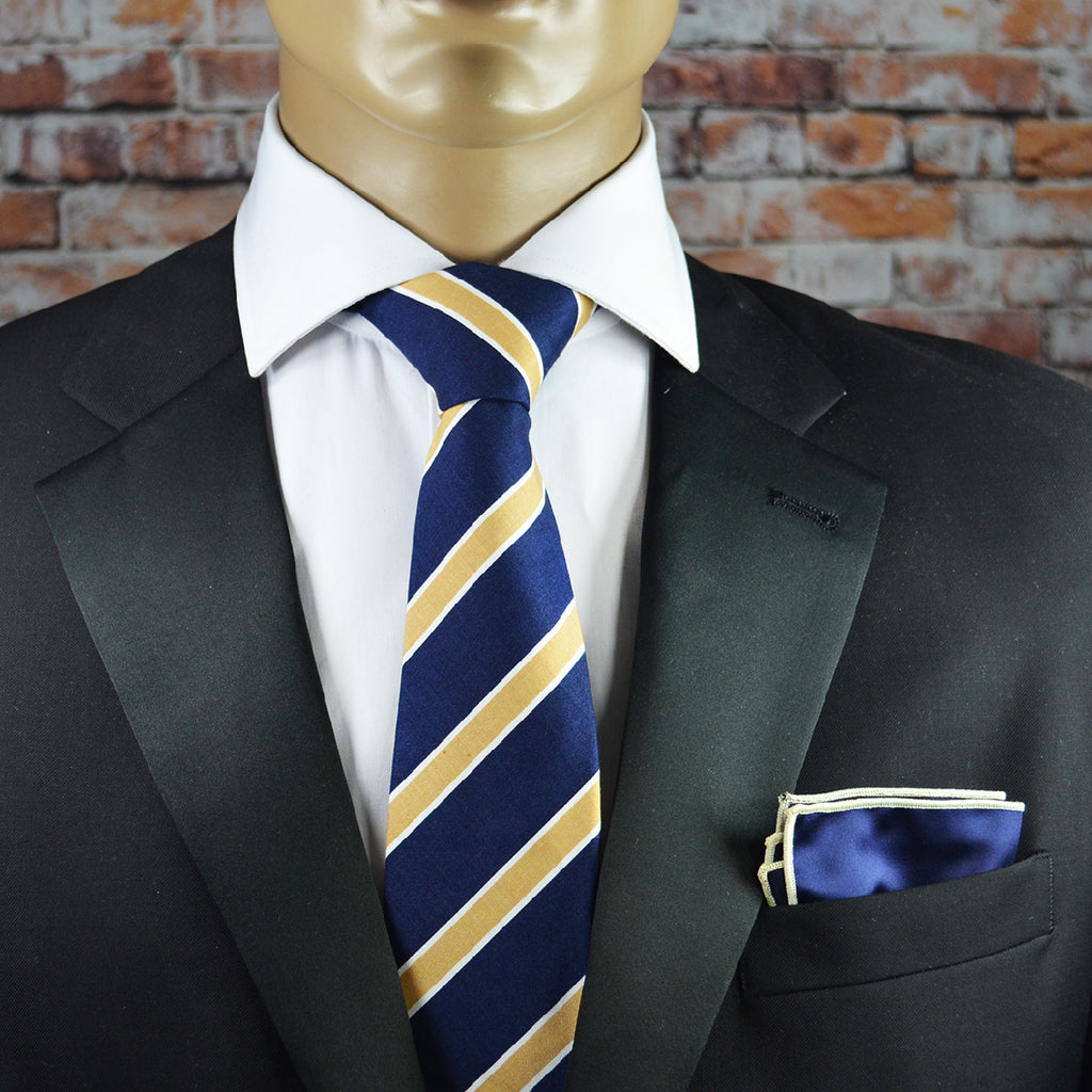 Navy and Gold College Striped Cotton Men's Tie by TiePassion
