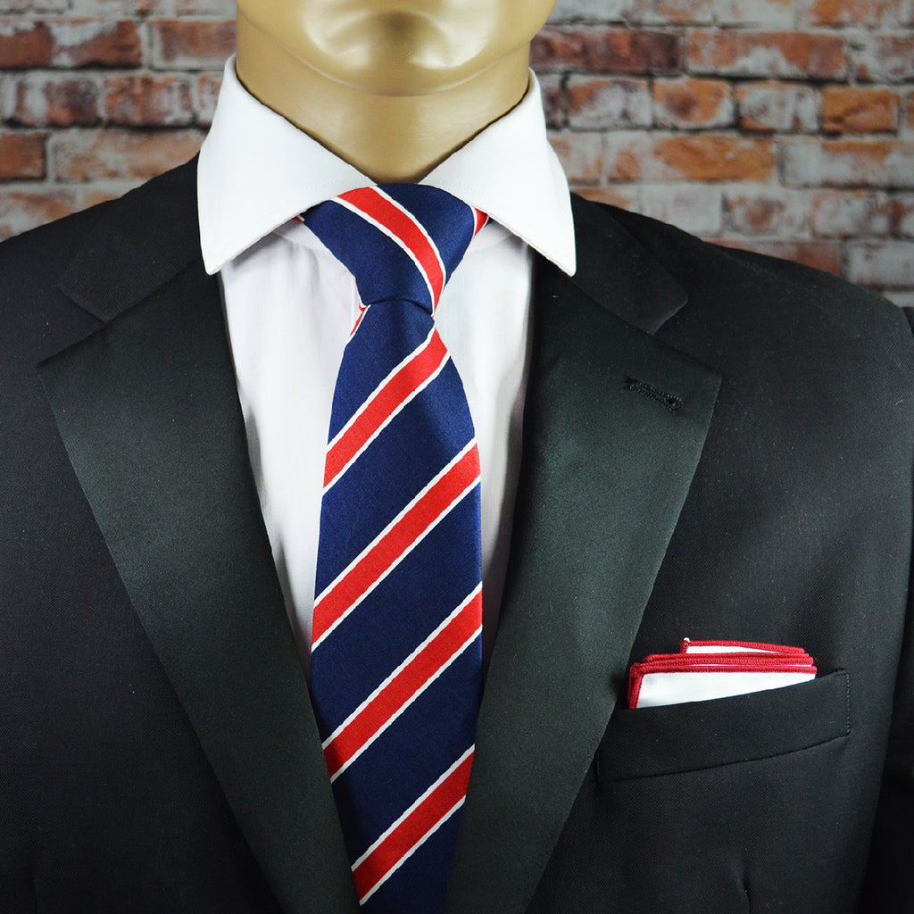 Navy and Red College Striped Cotton Men's Tie by TiePassion