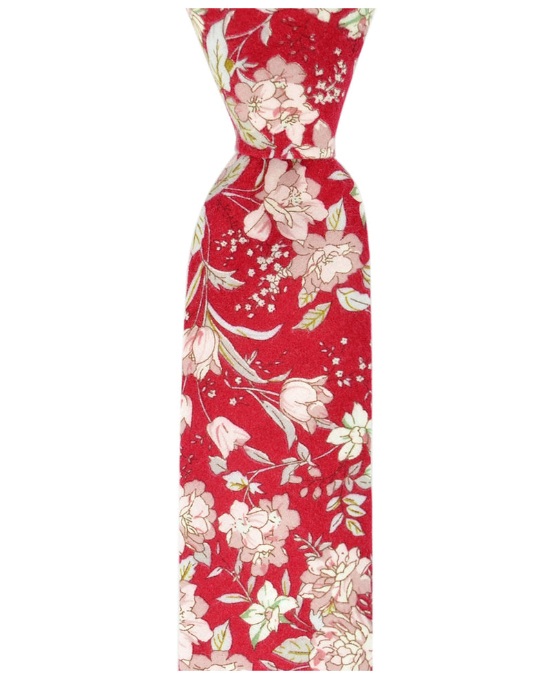 Ribbon Red and Pink Floral Necktie - tiepassion