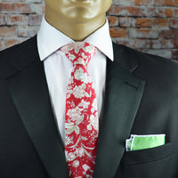 Bittersweet Red Floral Cotton Men's Tie by TiePassion