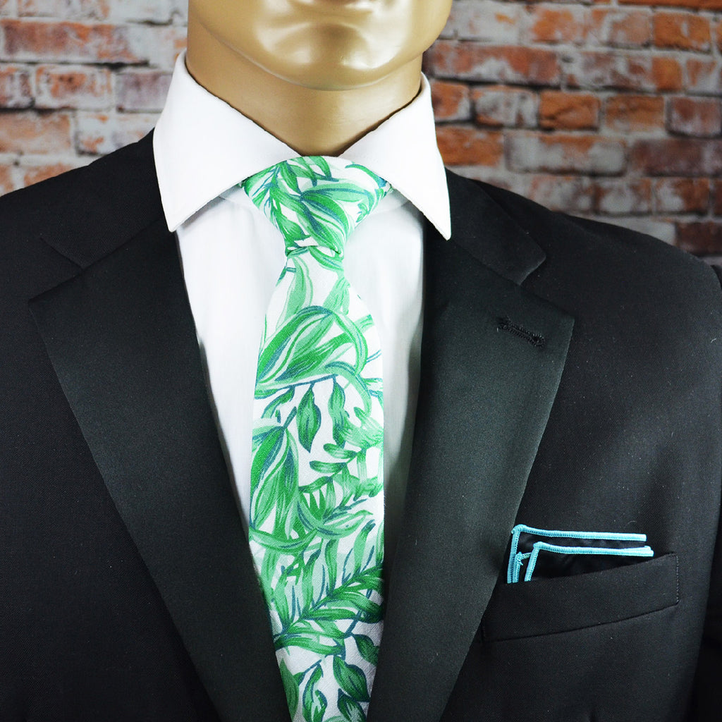 Aloe Green Floral Cotton Men's Tie by TiePassion