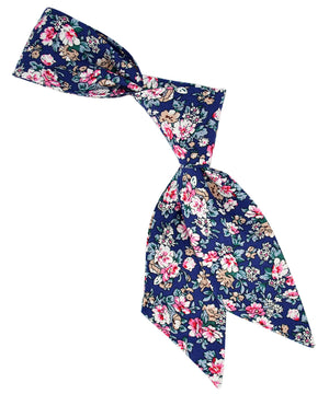 Dark Blue, Pink and Beige Floral Hair Sash - tiepassion