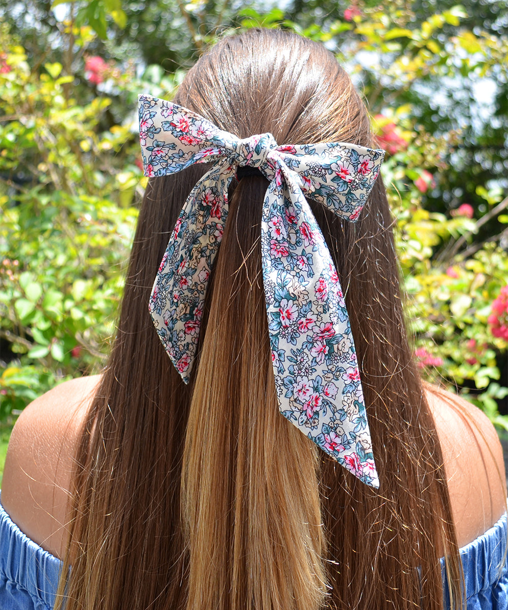 Ivory, Pink and Beige Floral Hair Sash - tiepassion