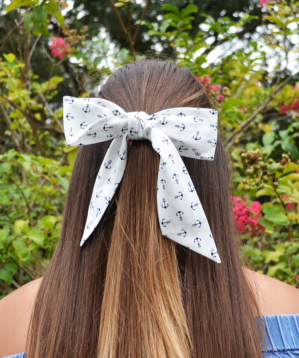 White and Navy Anchor Pattern Hair Sash - tiepassion