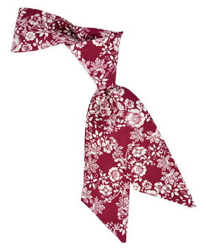 Burgundy and Ivory Floral Hair Sash - tiepassion
