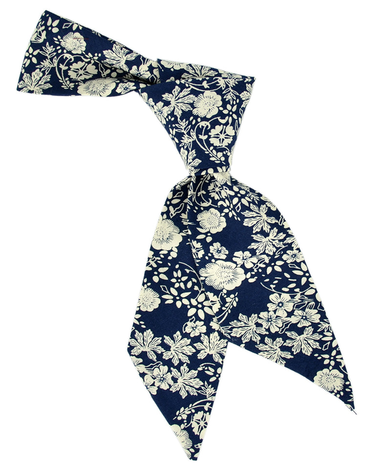 Navy and Ivory Floral Hair Sash - tiepassion