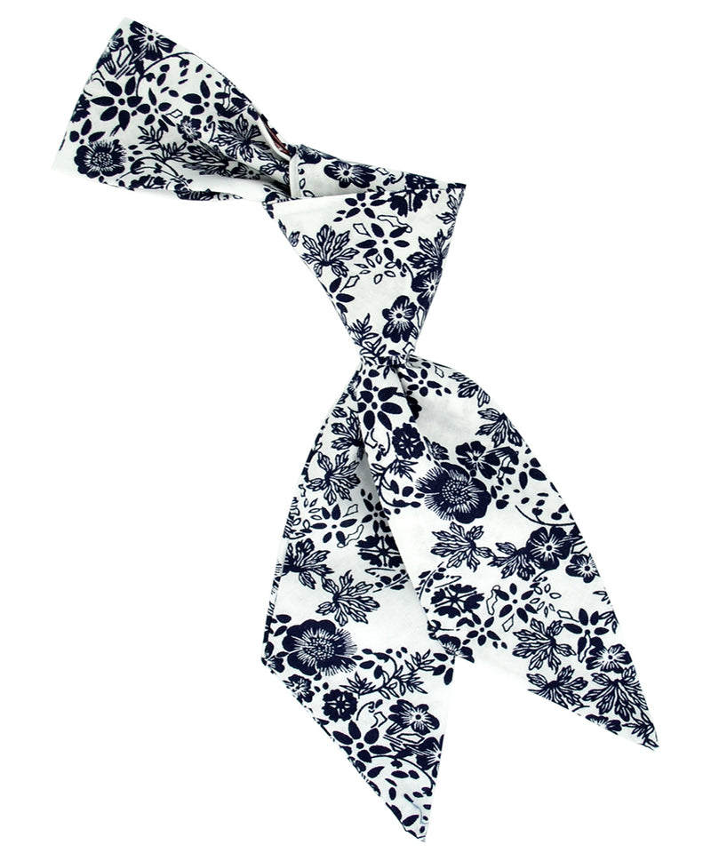 White and Navy Floral Hair Sash - tiepassion