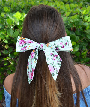 Mint Green and Pink Floral Hair Sash - tiepassion