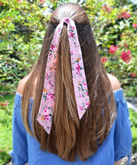 Strawberry Pink Floral Hair Sash - tiepassion